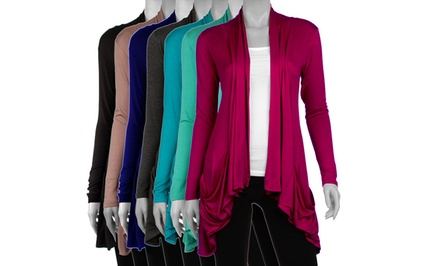 Women's Plus-Size Draped Cardigan with Pockets