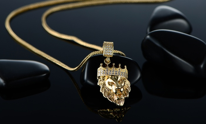 57 off on lion head pendant necklace groupon goods 18k gold plated lion head pendant in foxtail chain necklace aloadofball Image collections