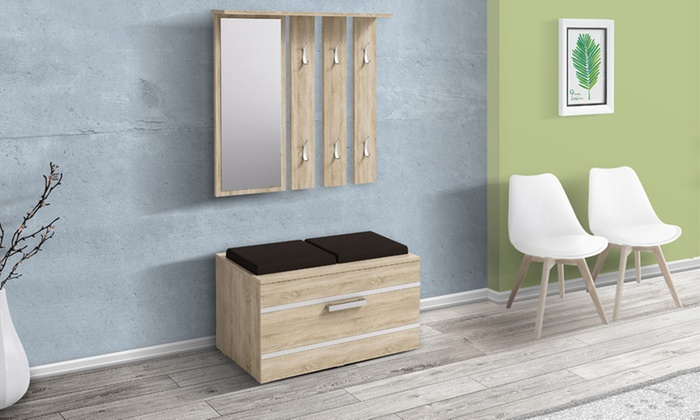 meuble de couloir avec banc groupon. Black Bedroom Furniture Sets. Home Design Ideas