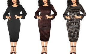 Women's Bell Sleeve First Lady Dress. Plus Sizes Available.
