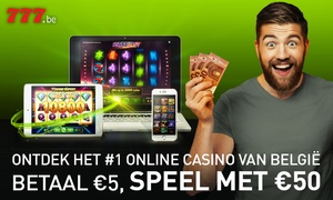 777.be: 50€ ou 75€ pour jouer au casino en ligne sur 777.be à partir de 5€