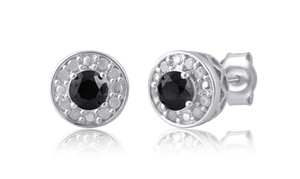 Black and White Diamond Stud Earrings in Sterling Silver