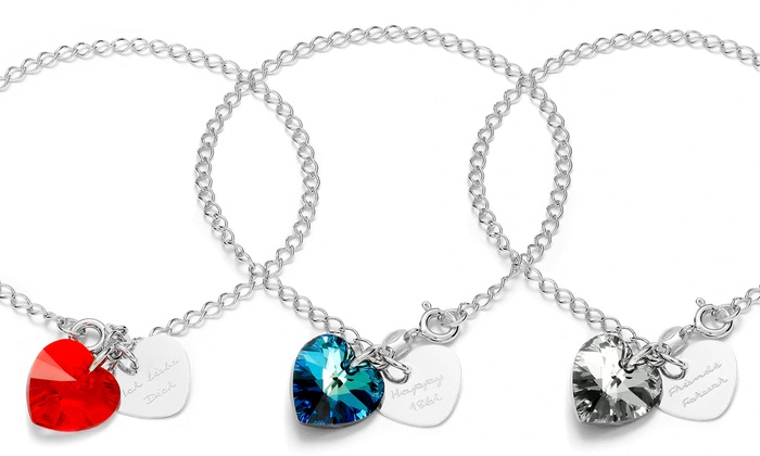 SilvexCraft: One or Two Custom Engraved Charm Bracelet with Heart-Shape Swarovski Elements Crystal from Jewells House (Up to 75% Off)