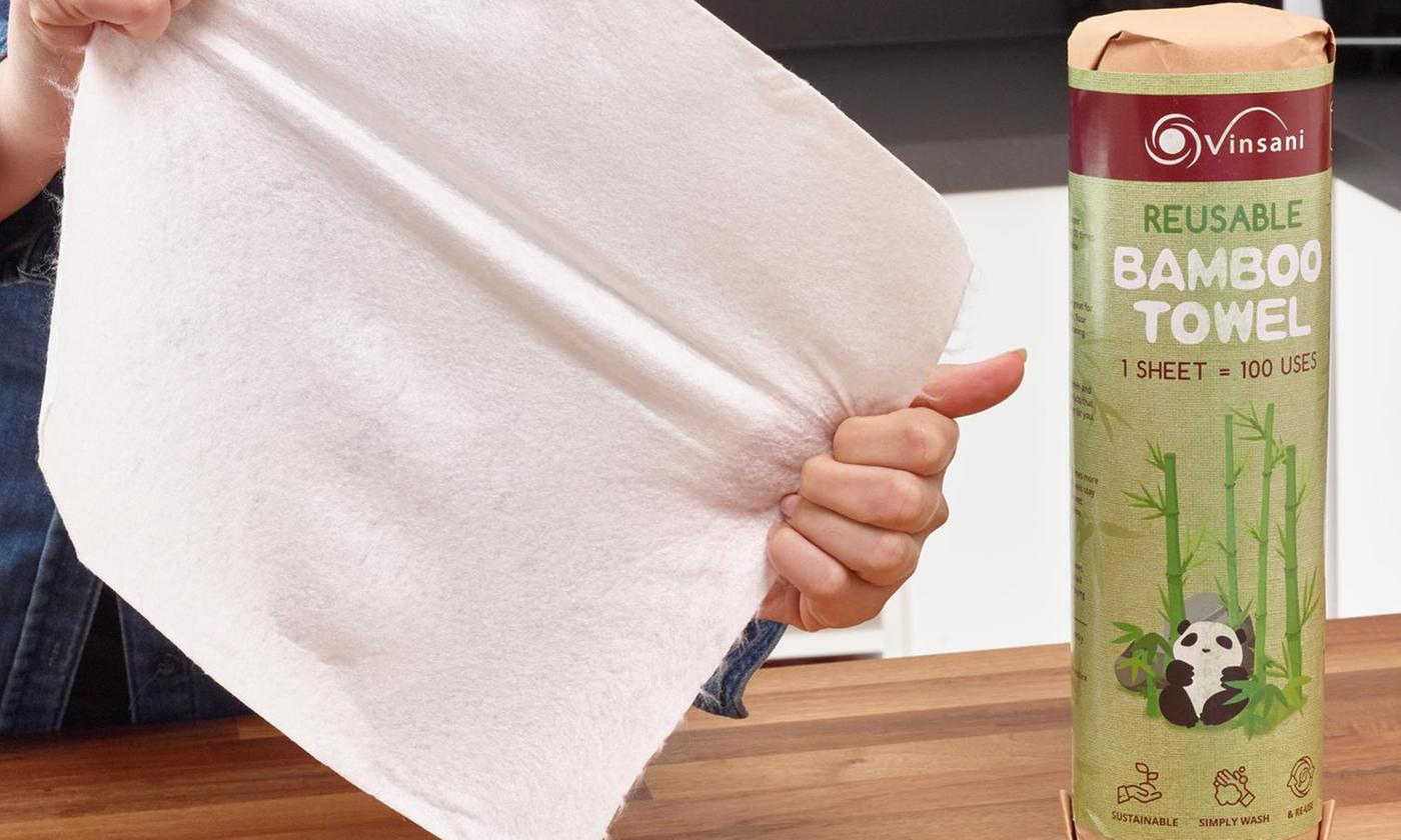 Up to Six Rolls of Eco-Friendly Reusable Bamboo Kitchen Towels