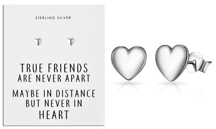 Sterling Silver Philip Jones Friendship Heart Stud Earrings