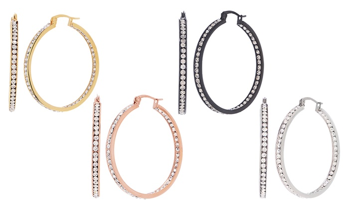 Stainless Steel Cubic Zirconia Hoop Earrings: Stainless Steel Cubic Zirconia Hoop Earrings. Multiple Colors Available. Free Returns.