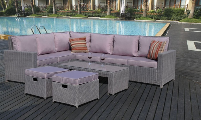 Rattan sofa set groupon for Garden furniture deals