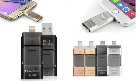 iFlash Drive for iPhone or iPad 8GB, 16GB, 32GB or 64GB from £14.99 (Up to 60% Off)