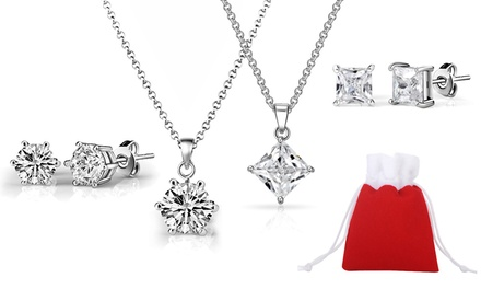 One or Two Zircondia Solitaire Crystal Necklace and Earrings Sets