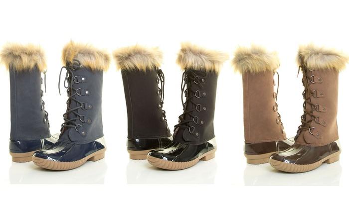 mata womenu0027s laceup duck rain boots mata womenu0027s faux fur collar lace - Duck Rain Boots