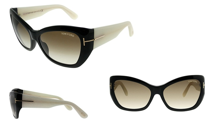 776dbf1d8f Tom Ford Sun FT0460 01F 58mm Sunglasses 100% Uv Black Ivory 58 -16 -130 Yes  Acetate Polycarbonate Brown Gradient