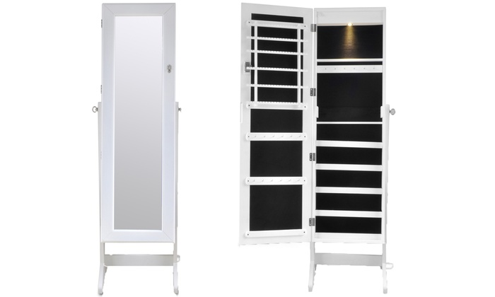 armoire bijoux sur pied avec miroir groupon shopping. Black Bedroom Furniture Sets. Home Design Ideas