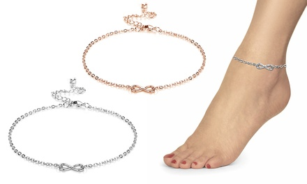 One or Two Philip Jones Infinity Anklets with Crystal from Swarovski®