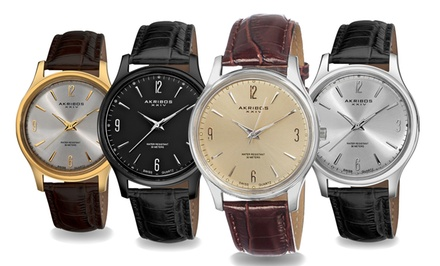 Akribos XXIV Swiss Men's Leather-Strap Watches