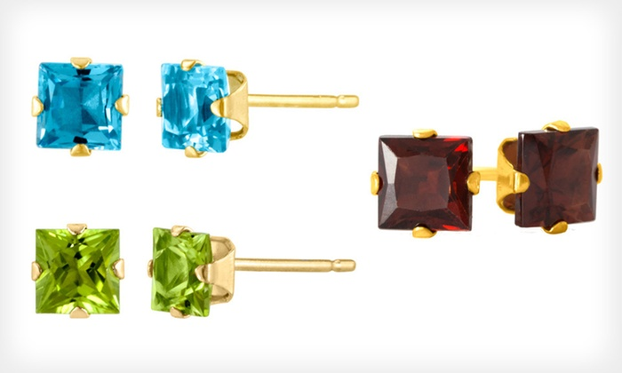 Gemstone Stud Earrings: $19 for Gemstone Stud Earrings ($50 List Price). Multiple Styles and Gems Available. Free Shipping and Free Returns.