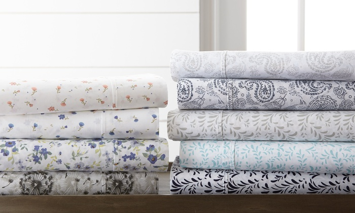 Merit Linens Floral & Paisley Printed Bed Sheet Set (4-Piece): Merit Linens Floral & Paisley Printed Bed Sheet Set (4-Piece)