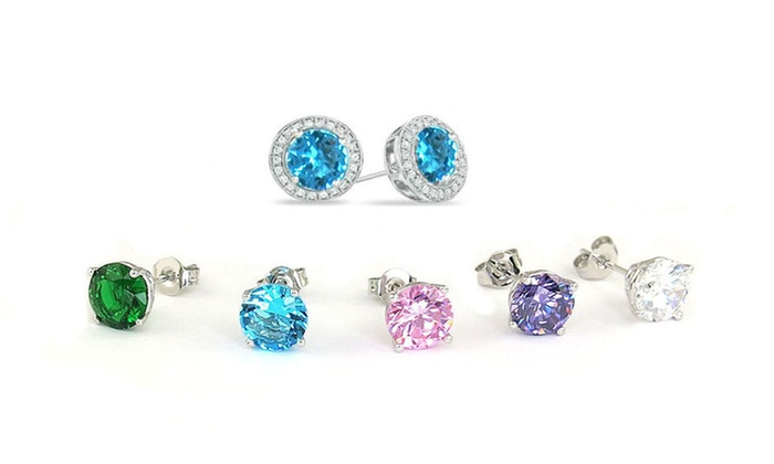 ab288f4ede8 Interchangeable Halo Stud Earrings with Swarovski Elements (6-Piece ...