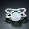 White Fire Opal Braided X Engagement Ring by Peermont