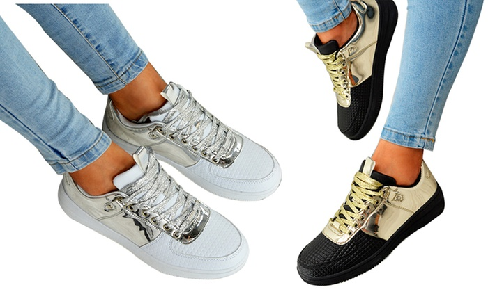 Women's Metallic Lace-Up Trainers