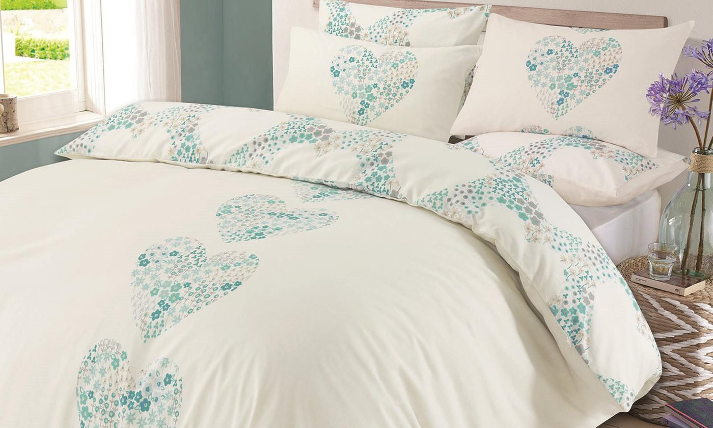 Floral Hearts Reversible Duvet Set for £9.98