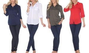 White Mark Skylar Women's Stretchy Button-Down Top