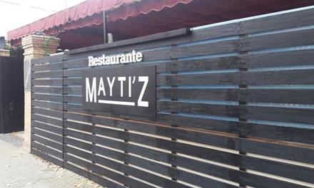 Menú para 2 o 4 personas con aperitivo, entrante, principal, postre y botella de vino o bebida desde 24,95 € en Maytiz