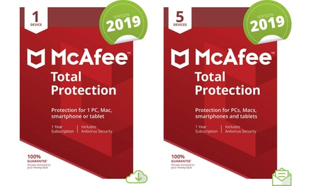 McAfee One Year Total Protection for One or Five Devices