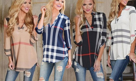 One or Two Women's VNeck Checked Shirts