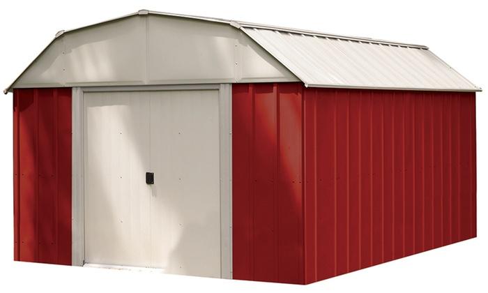 10 Ft. x 14 Ft. Shelter Logic Red Barn Steel Shed