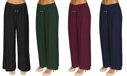 Womens Pleated Wide Leg Trousers