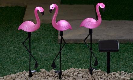 Set van 3 of 6 roze flamingo solarlampen met ledverlichting