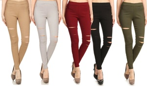 Women's High-Waisted Pull-On Ripped Stretch Skinny Jeggings (3-Pack)