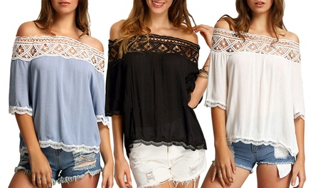 OffShoulder CutOut Lace Top: One $16 or Two $25