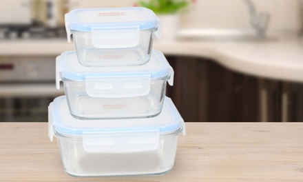 Set of Three Tivoli Glass Food Containers With Plastic Lid