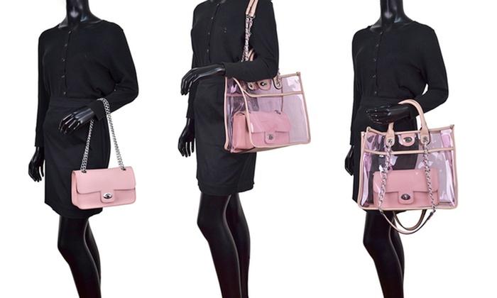 654339dc9133 MK Belted Collection Transparent Handbag and Crossbody Set   Groupon
