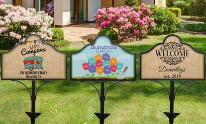 One Personalized Magnetic Yard Sign or Set of Yard Sign and Garden Stake from GiftsForYouNow.com (Up to 50% Off)