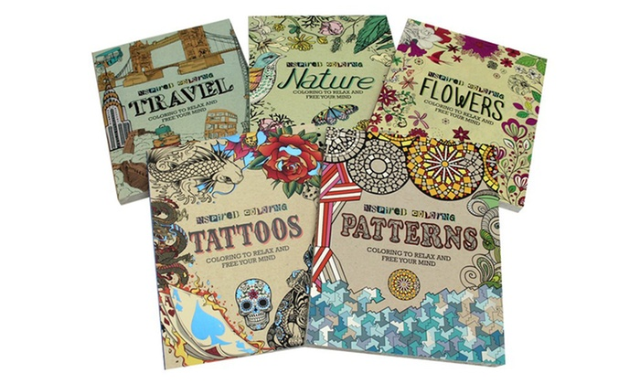 Adult-Inspired Coloring Books (1- or 5-Pack)
