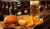 Burger mit Pommes + 1 Maß Bier
