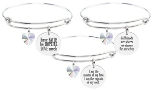 Pink Box Stainless Steel Bangle with Heart Shaped AB Swarovski Crystal