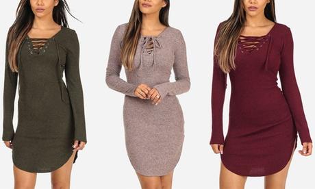 Women's Thin Knit Ribbed Lace-Up Long-Sleeve Mini Dress 257d33a6-9af3-49b9-9094-254c7a35192b