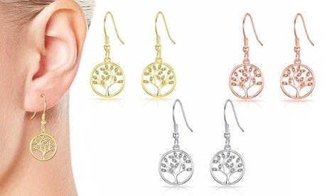 1, 2 o 3 pares de pendientes de gota del árbol de la vida con cristales de Swarovski®