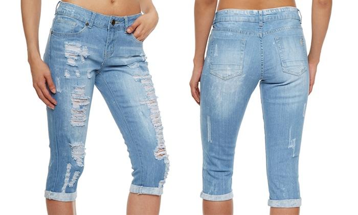 VIP Women's Distressed Skinny Capri Jeans