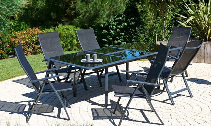 ensemble table en verre et aluminium avec 6 chaises ou fauteuils groupon shopping. Black Bedroom Furniture Sets. Home Design Ideas