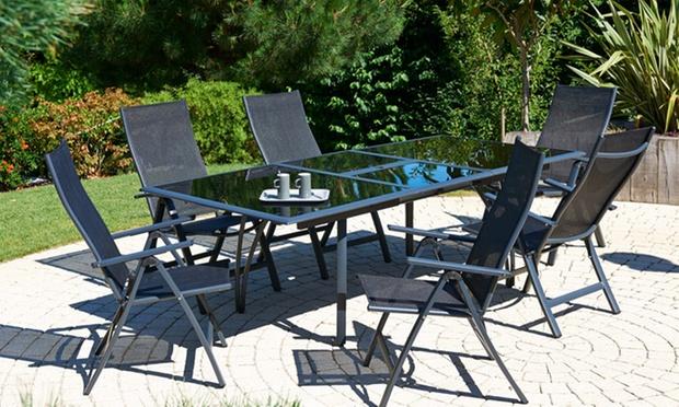 Ensemble table en verre et aluminium avec 6 chaises ou fauteuils groupon shopping for Quelle chaise pour table en verre