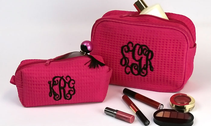 Up To 67 Off A Personalized Cosmetic Or Makeup Bag Groupon