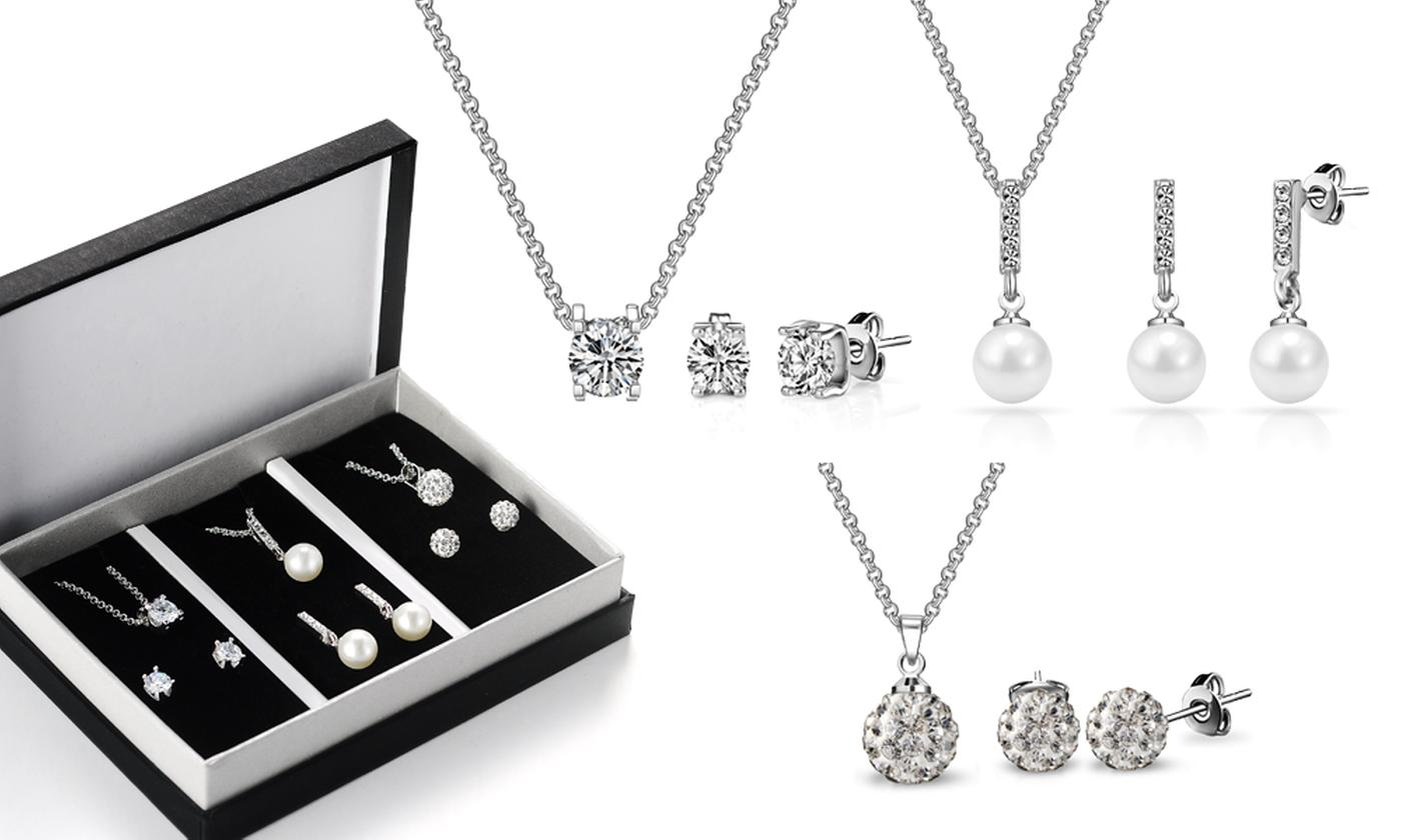 One or Two Philip Jones Travel Jewellery Sets with Crystals from Swarovski®