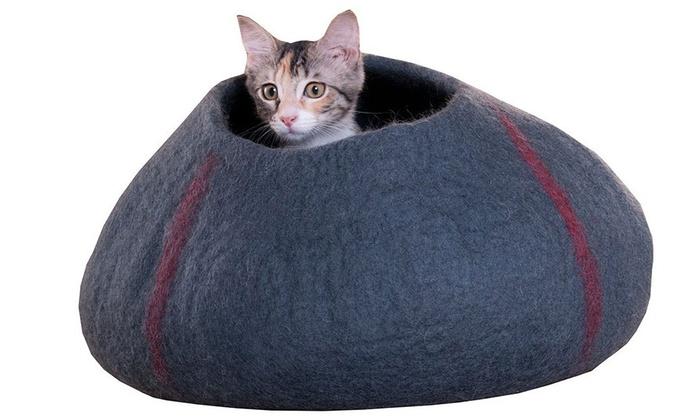 ... Purrfect Feline Handmade In Nepal Wool Cocoon Cat Bed: Purrfect Feline  Handmade In Nepal Wool