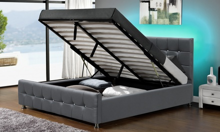 lit coffre led matelas groupon shopping. Black Bedroom Furniture Sets. Home Design Ideas