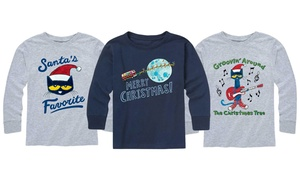 Pete the Cat Kids Christmas Long Sleeve Tee