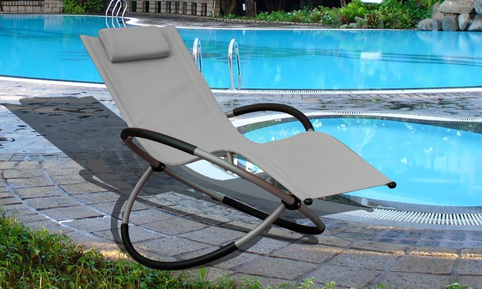 One or Two Foldable Zero Gravity Rocking Lounger Chairs with Pillow